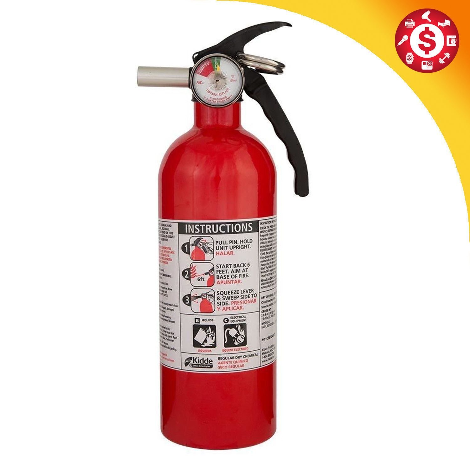 Dry Chemical Kitchen Fire Extinguisher Safety Home Car Auto