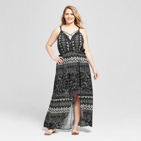 Women\'s Plus Size Floral Print High-Low Maxi Dress ...