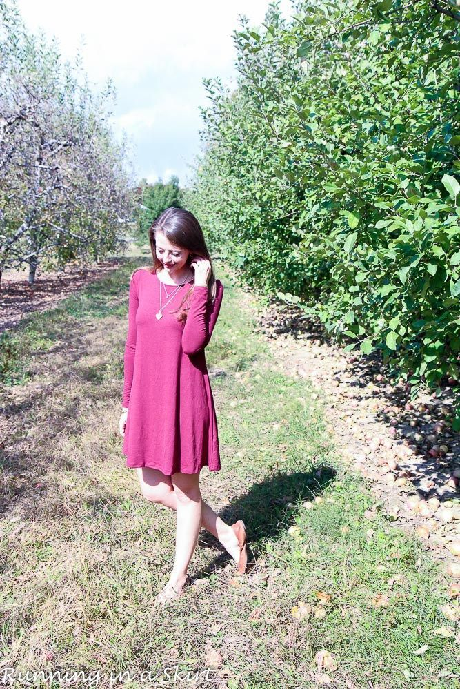 Maroon Swing Dress and flats.  Everyday fashion ideas for 30+ from Running in a Skirt!