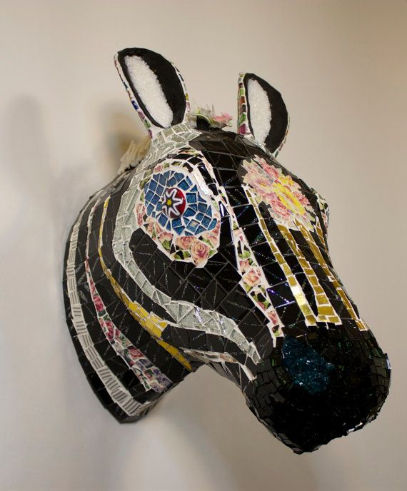 MOSAIC ZEBRA ANIMAL ooak hand made Ceramic Sculpture. Contemporary art, mixed media, porcelain flowers, stained glass tiles