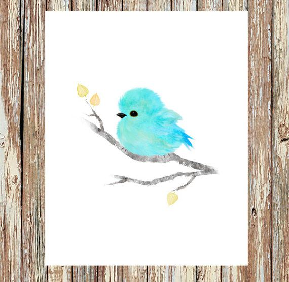 Bird Prints Baby Bird Art Baby Bluebird Blue Bird By Fluffibee