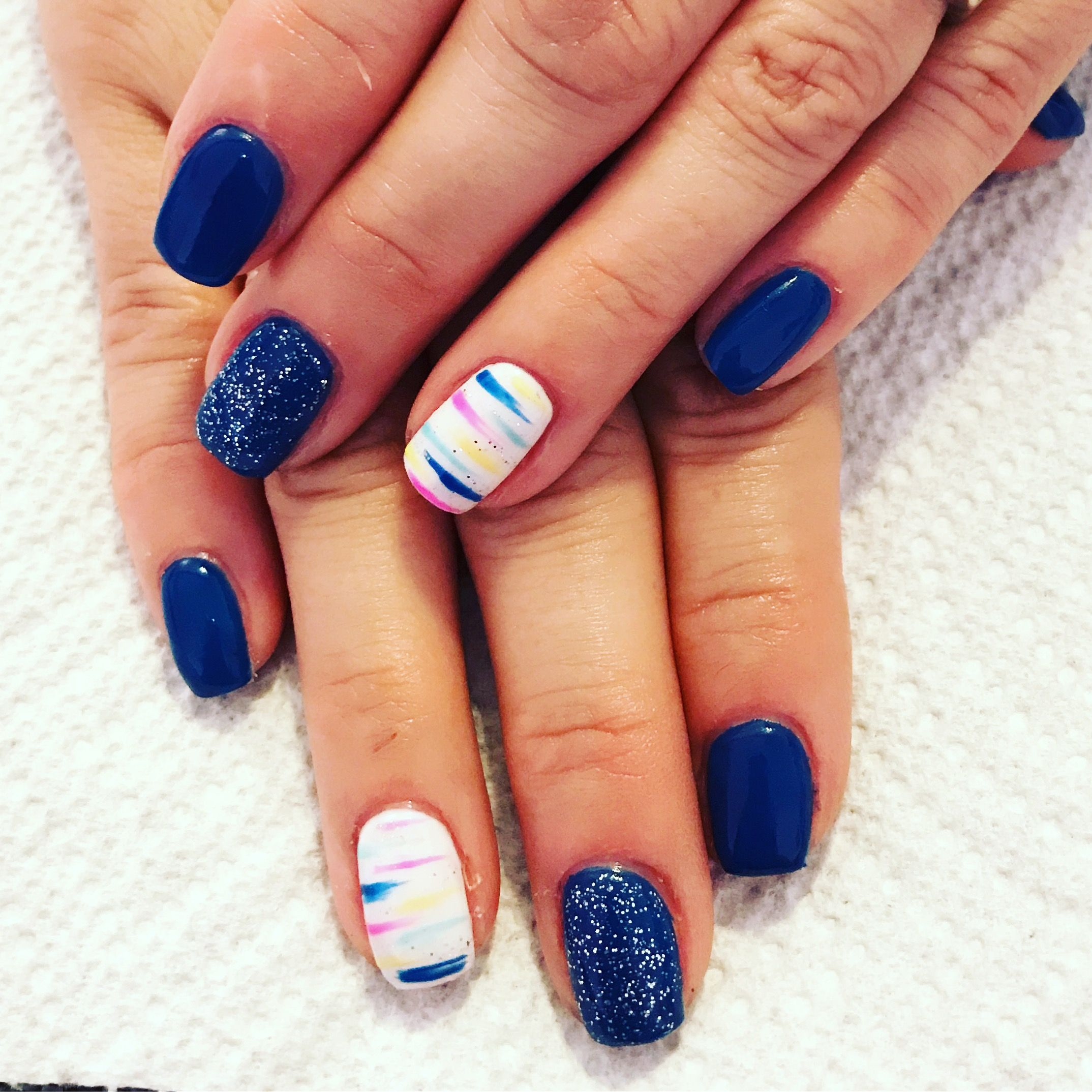 Gel nails. Blue nails. Funky nails. Bright nails. Glitter nails. Fun ...