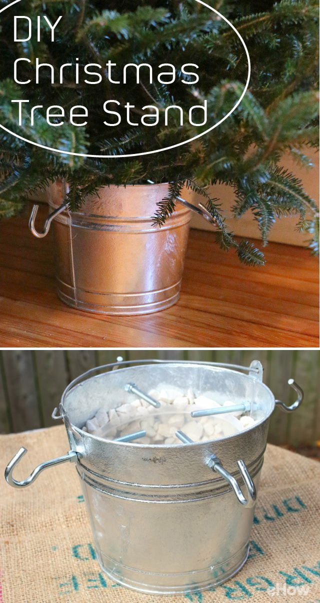 Using A Metal Pail And Clothesline Hooks Make This Farmhouse Style Christmas Tree Stand Christmas Tree Stand Christmas Tree Stand Diy Creative Christmas Trees
