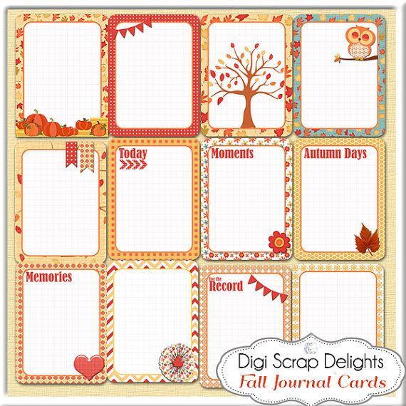 Fall Into Fall Digital Scrapbook Kit Scrapbooking Autumn Journal and Pocket Scrap Cards