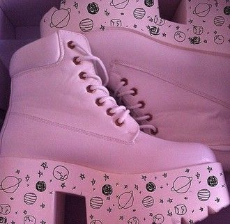 boots pastel pink space pastel goth