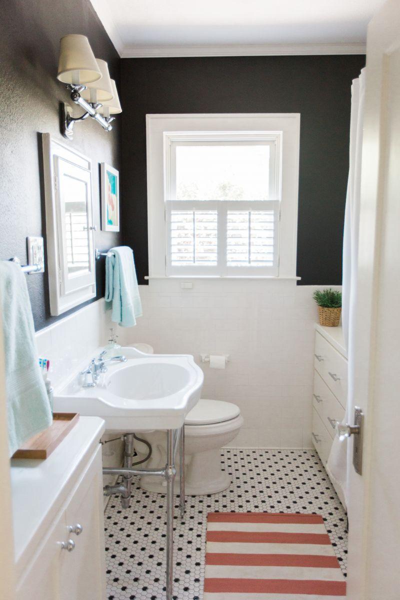 Heather Sherrod\'s Houston Home Tour | White tiles, Dark walls and Bath
