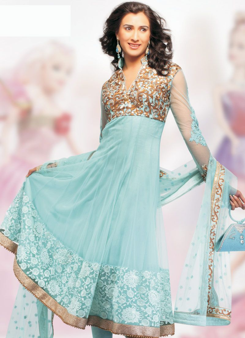 Net, Cotton Satin, Chiffon Indian Anarkali Suit ~ Ladies Fashion ...
