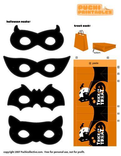 Puchi Printables Halloween Masks And Treat Sack Maskers