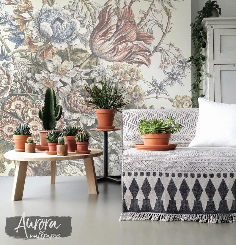 Flowers From Dutch Field Removable Wallpaper Reusable Etsy Removable Wallpaper Vintage Walls Wall Murals