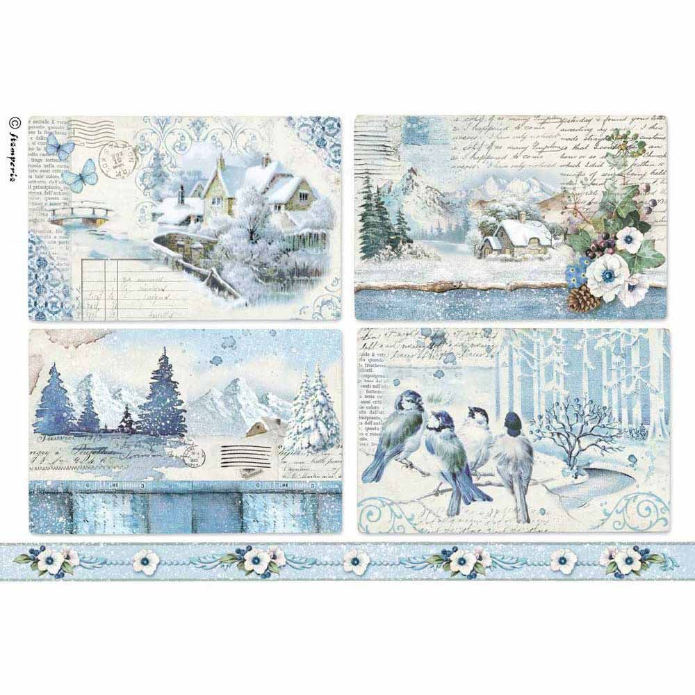 Rice Paper for Decoupage Scrapbook Craft Blue Land Landscapes