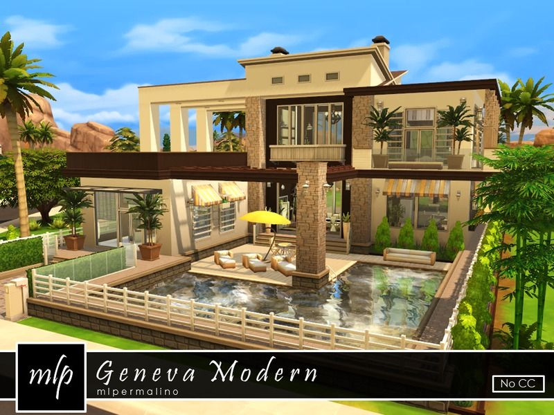 Geneva Modern Is A Desert Villa That Is Made To Accommodate The Largest Of Groups Family Or Friends This Lot Boasts M Sims 4 Modern House Sims 4 Houses Sims