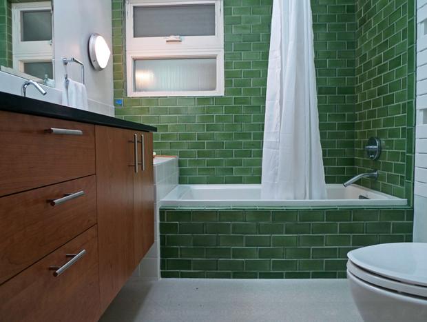 Emerald Green Bathroom With G