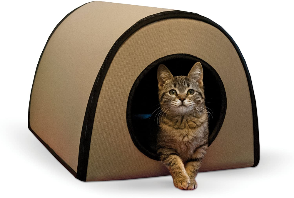 K H Pet Products Mod Thermo Kitty Heated Shelter Tan Heated Cat House Outdoor Cats Cat Shelter