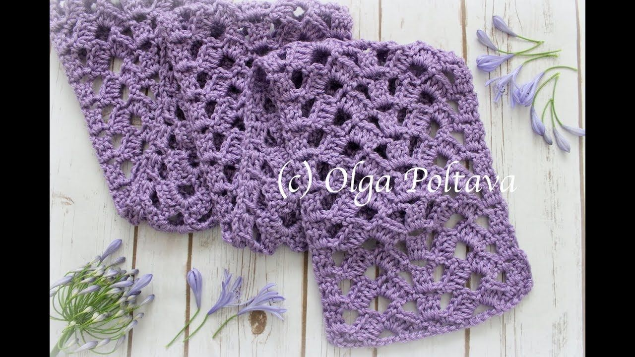 How to Crochet Scarf with Open Lace Stitch, Crochet Video