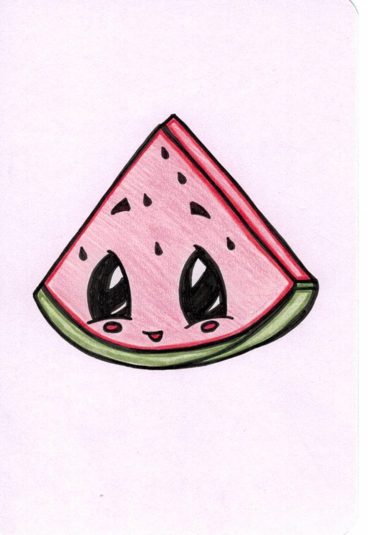 Watermelon Cartoon Etsy Watermelon Cartoon Cute Little Drawings Cute Cartoon Drawings
