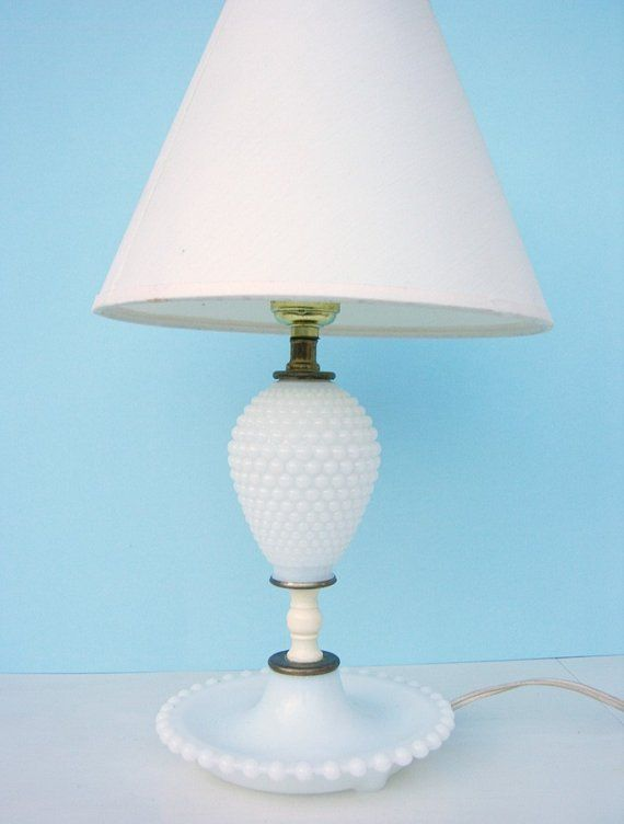 1950s Vintage Hobnail Milk Glass Lamp I Had One Of This Lamps Growing Up Milk Glass Lamp Vintage Lamps Hobnail Milk Glass