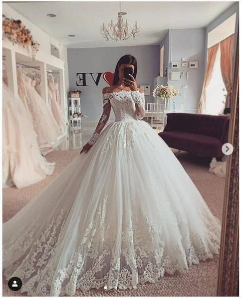 Photo of Ball Gown Wedding Dress Long Sleeve Lace Wedding Bridal Gowns
