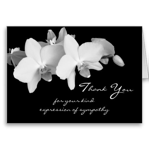 Sympathy Memorial Thank You Note Card -- Orchids Note cards - funeral thank you note