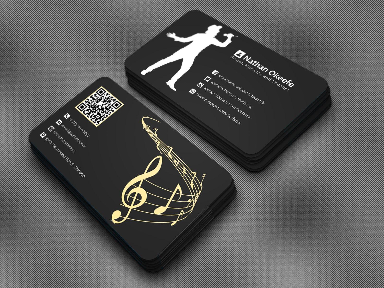 Singer Musician Vocalist Business Card Design Musician Business Card Business Card Design Business Cards Collection