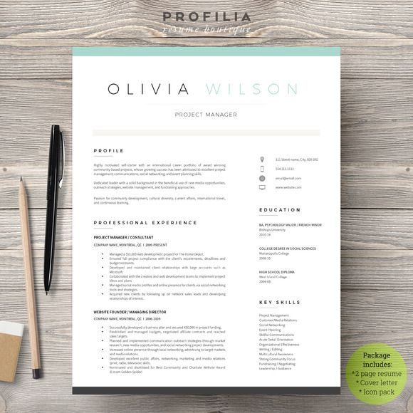 Word Resume  Cover Letter Template By Profilia Resume Boutique On