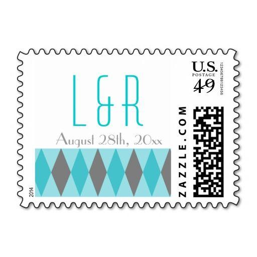Teal & Gray Diamond Wedding Stamps