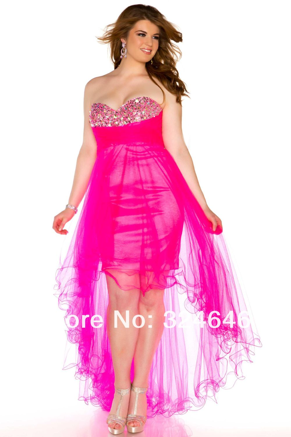 Sweetheart neckline diamond hot pink blue short front long back party dress  short sparkly prom dresses -in Evening Dresses from Apparel   Accessories  on ... 69dc24b0d67d