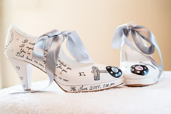 Custom Wedding Shoes for Bride, Hand painted Bridal Shoes
