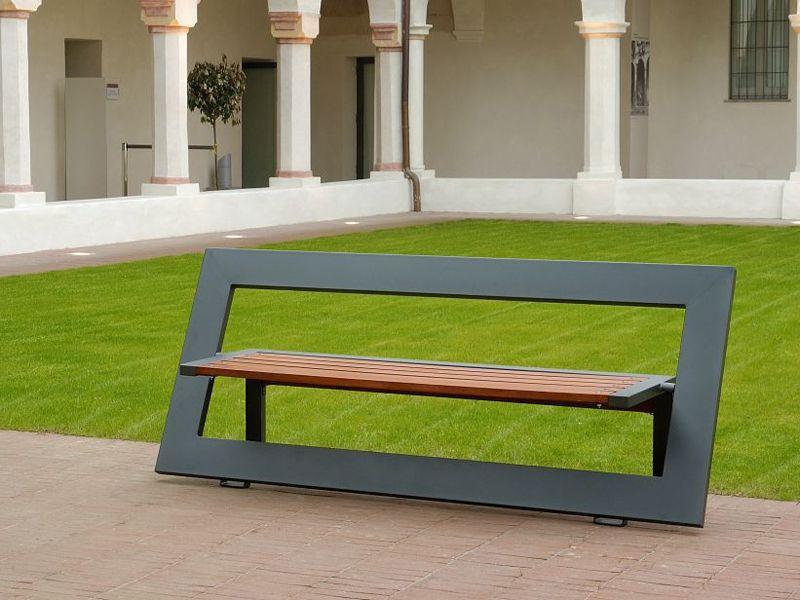 banc en acier et bois avec dossier projets essayer. Black Bedroom Furniture Sets. Home Design Ideas