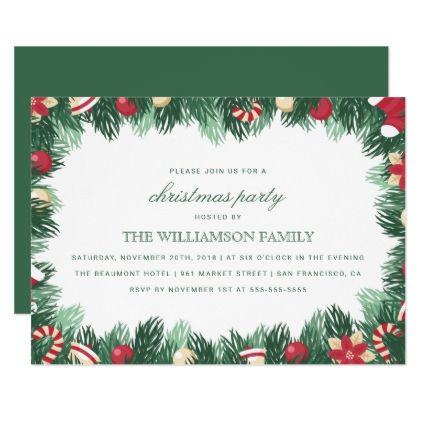 festive botanical border christmas party card xmas christmaseve christmas eve christmas merry xmas family kids gifts holidays santa