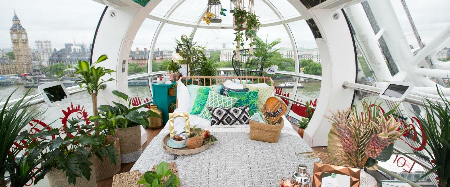 Designed and decorated by the Wayfair team, one of the London Eye capsules has been converted into a stunning rainforest-inspired tiny apartment.