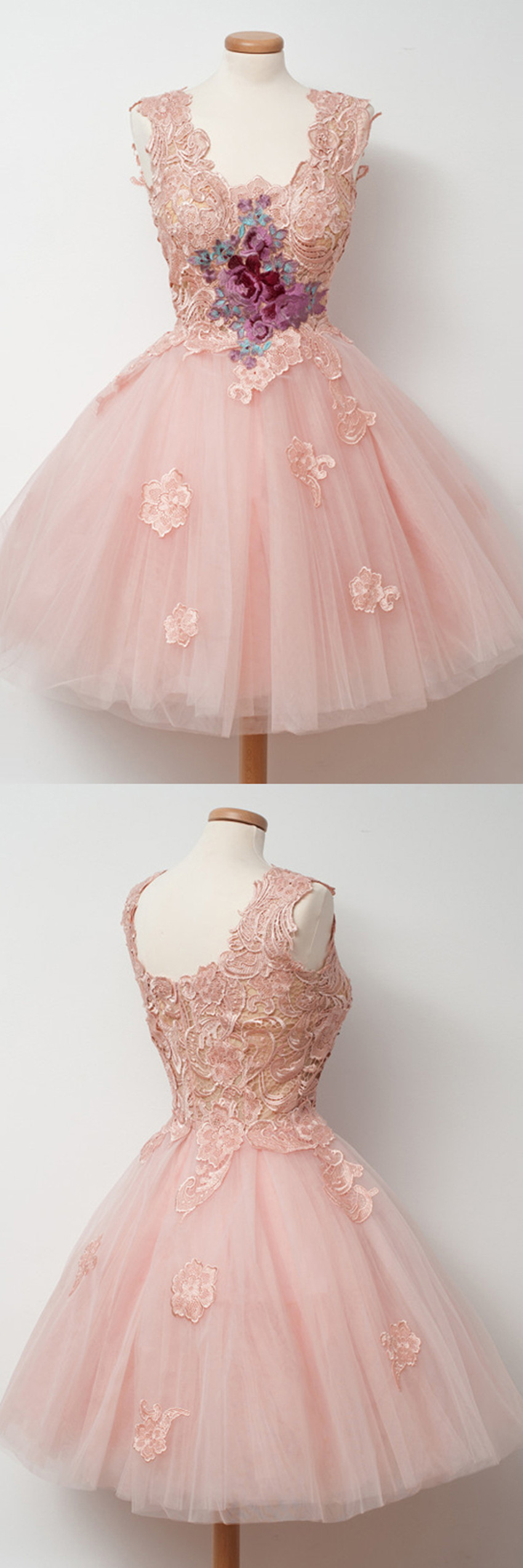Cute Square Knee-Length Ball Gown Pink Homecoming Dress with ...