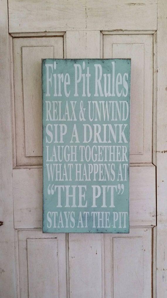 Fire Pit Rules Sign 16x30~ custom sign ~ Backyard Decor ...
