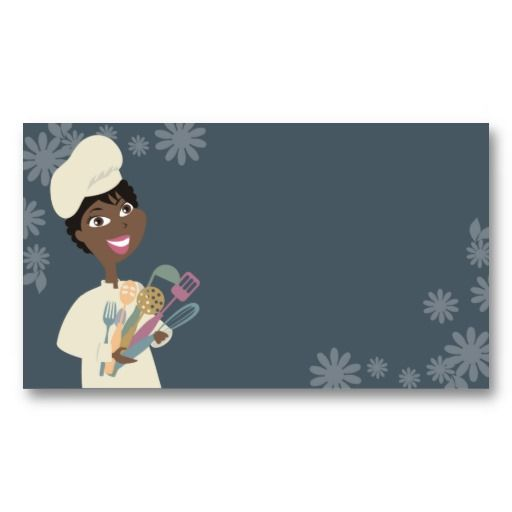 African american girl chef utensils business card african american african american business cards templates colourmoves Images