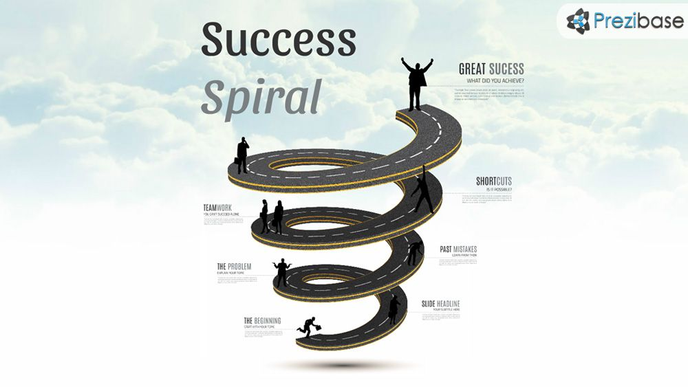 D Road Spiral To Sky Prezi Presentation Template For Business