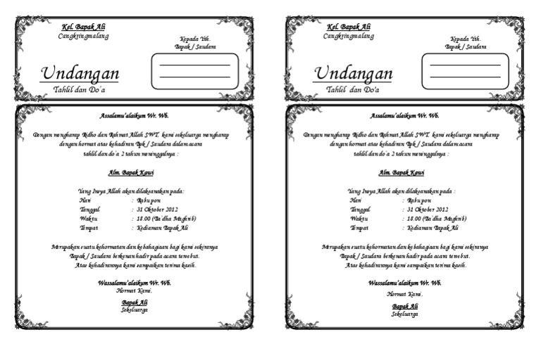 Kalo Mau Buat Undangan Tahlil Tinggal Download Trus Edit Trus Print Dehh Kertas Ukuran F4 Hvs Undangan Kiat Belajar Templat Undangan