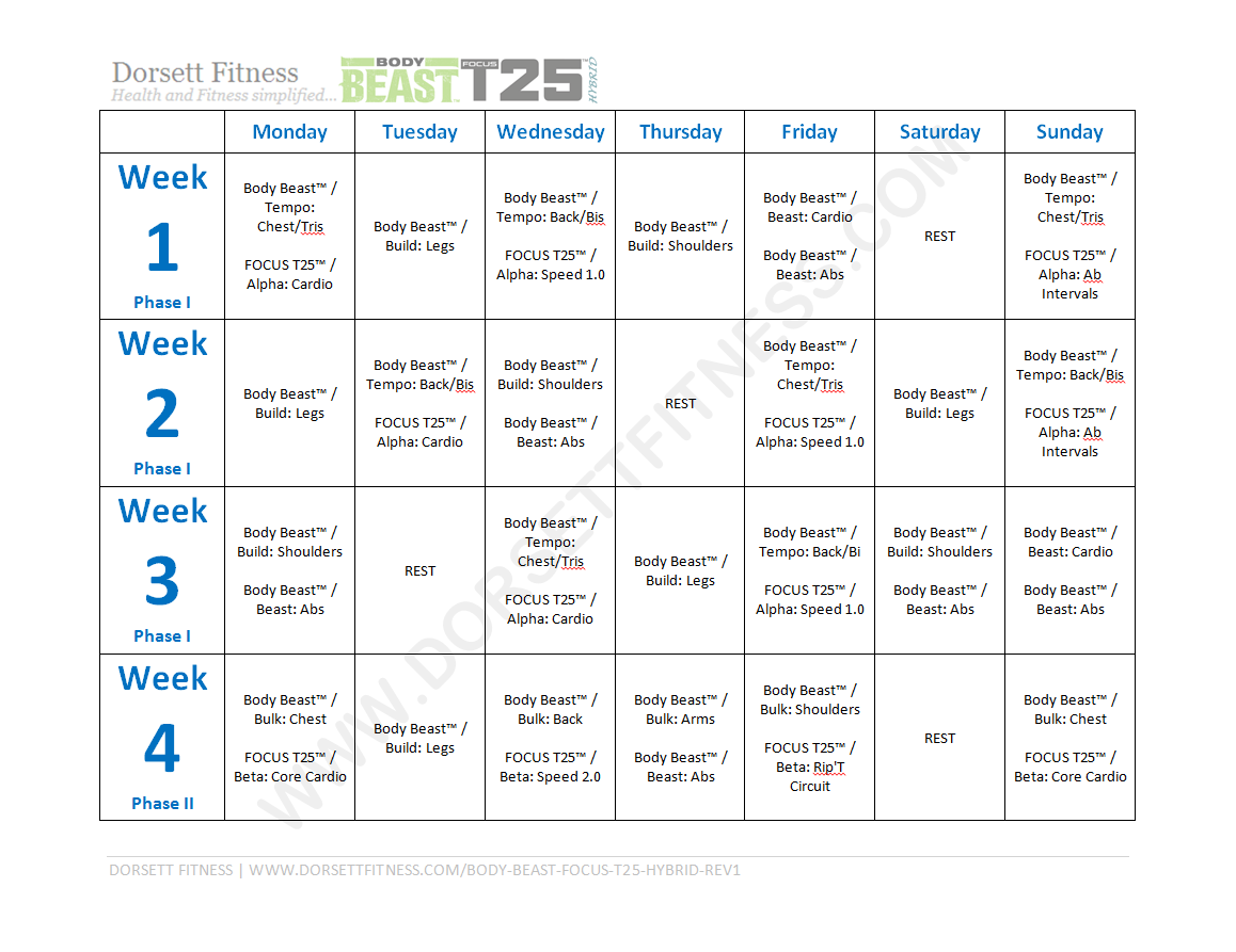 Starting this today! Body Beast™ FOCUS T25™ Hybrid Workout Page 1
