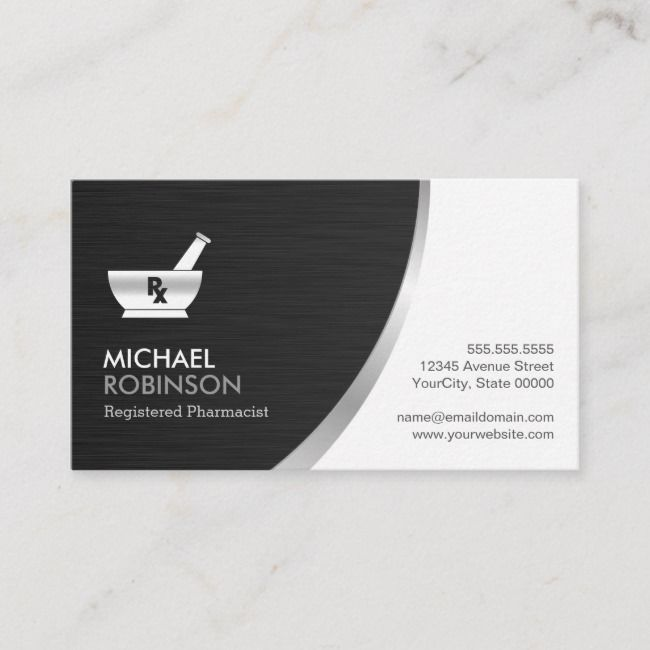 Pharmacy Pharmacist Logo Modern Black Silver Business Card Zazzle Com In 2021 Modern Logo Business Card Design Black Modern Business Cards