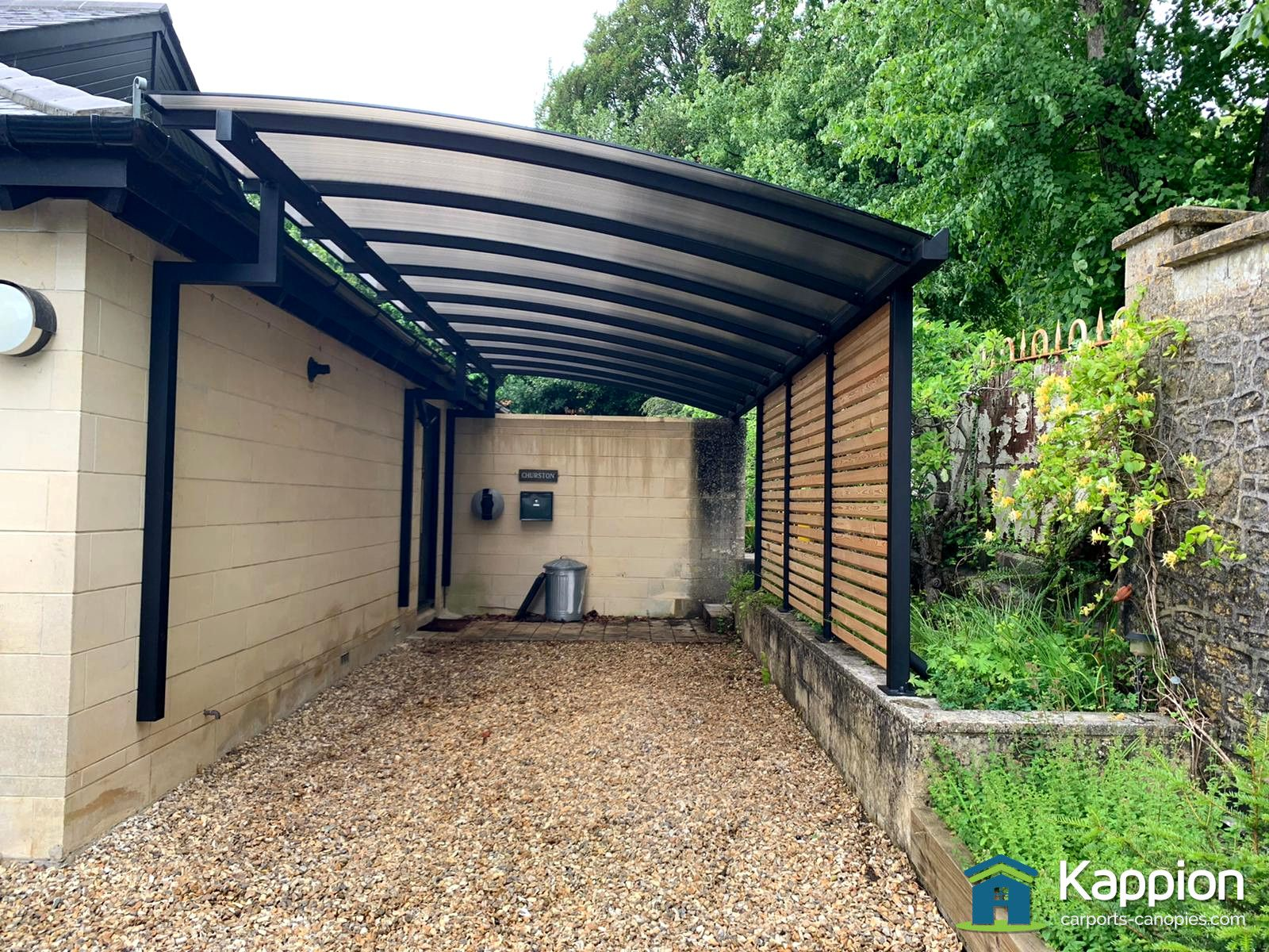 Quarter Curve Carport installed in Bath by Kappion