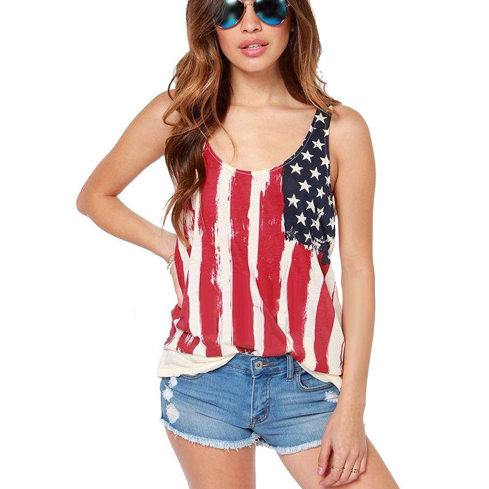 0a62870b52b Women s Sexy American Flag Tank Top USA Patriotic Darling Biker Vest Tees  S-XXL