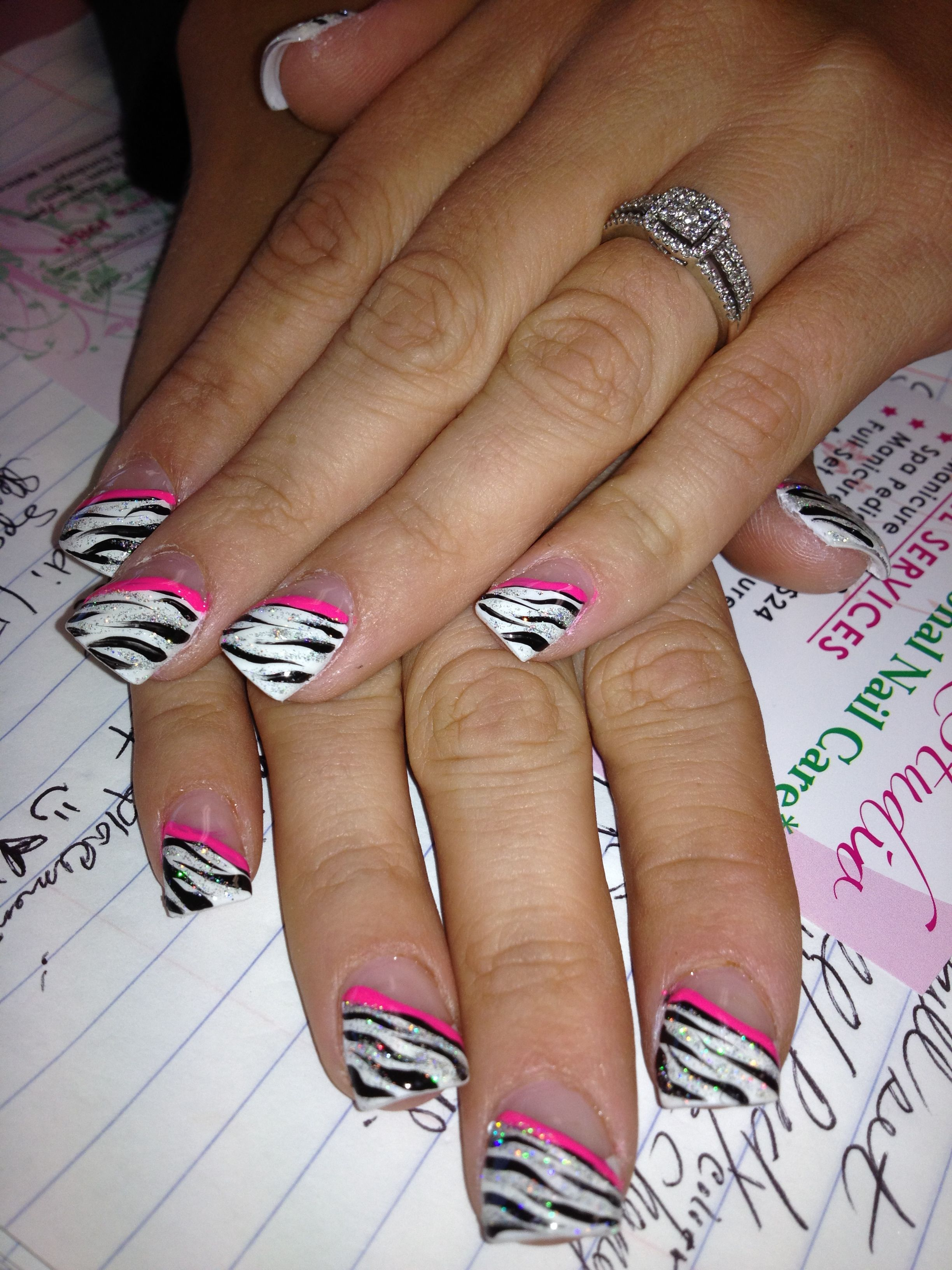 Zebra nail design by Tiffany D. | Katie\'s faves | Pinterest | Zebra ...