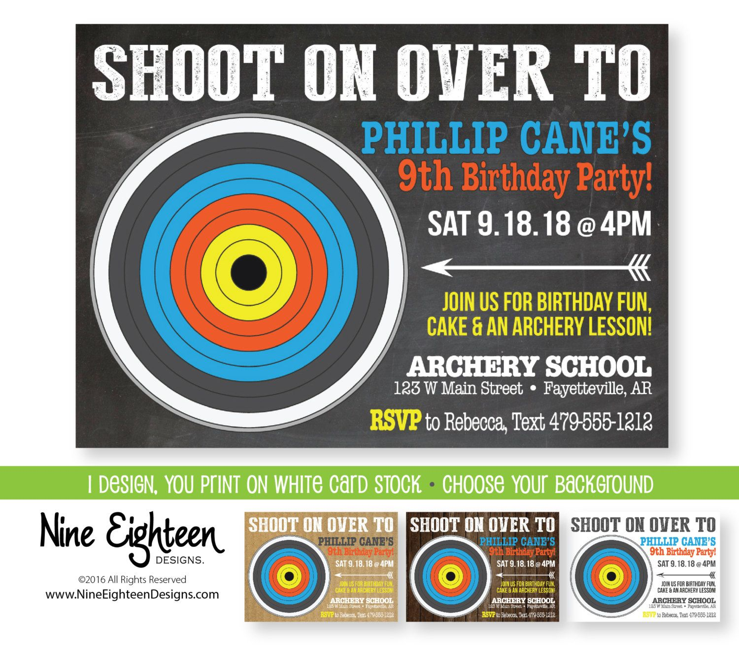 Custom Printable Archery Themed Birthday Party Invitation To