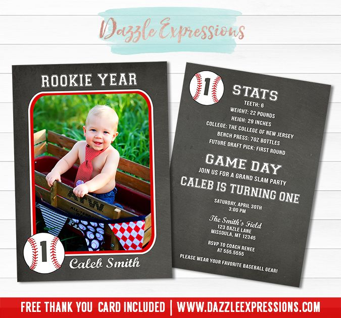 Printable Chalkboard Baseball Card Birthday Invitation