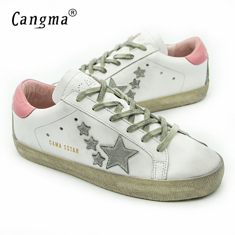 CANGMA Italie Deluxe Marque Femmes Casual Or Chaussures Confortable  Véritable Cuir Femme ÉTOILES D'oie