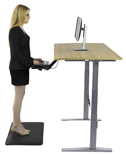 rise up electric adjustable height standing desk w beautiful real bamboo desktop affordable. Black Bedroom Furniture Sets. Home Design Ideas