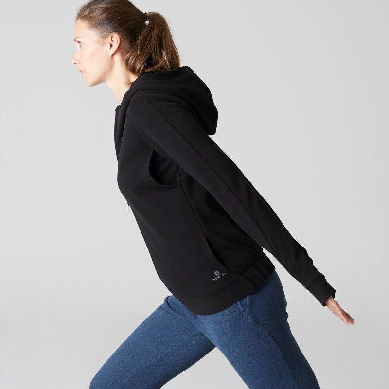 GROUPE 1 Gym Stretching - Veste 540 capuche Gym noir DOMYOS - Vêtements  femme 83d9c355a28