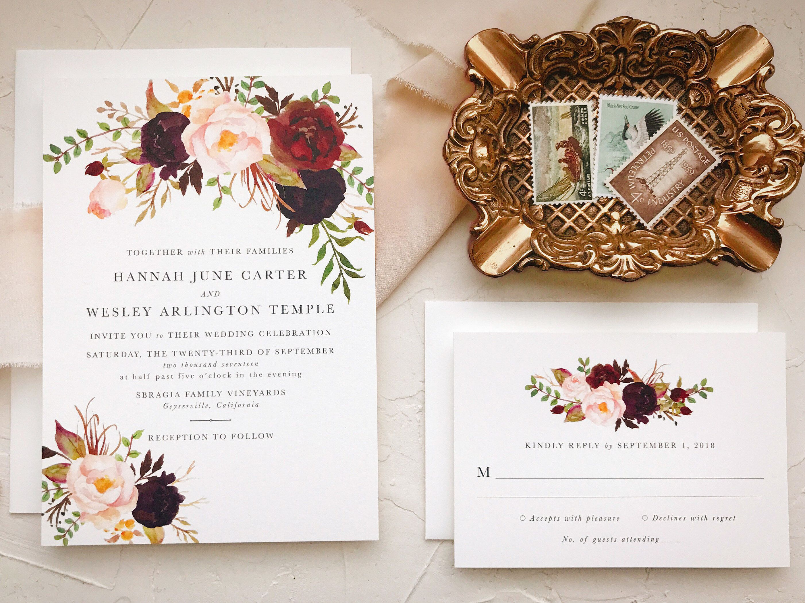Marsala Wedding Invitation Suite For Bohemian Wedding By
