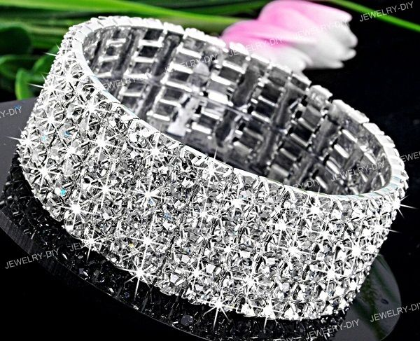 6 Row Swarovski Crystal Bracelet Bridal Strippers Dancer Pageant Prom Jewelry