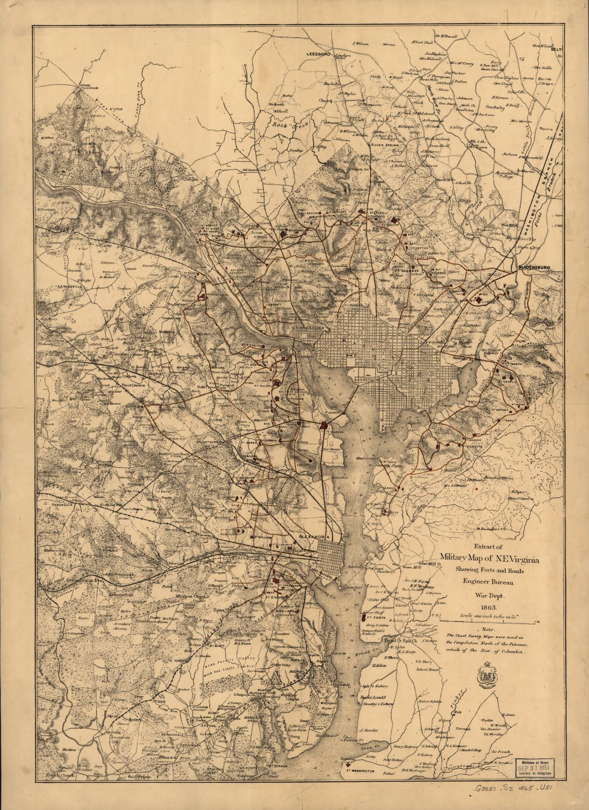 Extract of military map of N E Virginia showing forts and roads