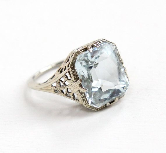 Antique 14k White Gold Aquamarine Ring Art Deco 1920s Size 5 1 2