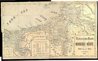 Karte der Nordsee - Küste,  1881,   bei L. Halenbeck